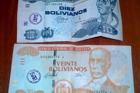 Sellan-billetes-de-10-y-20-bolivianos-con--Evo-si-
