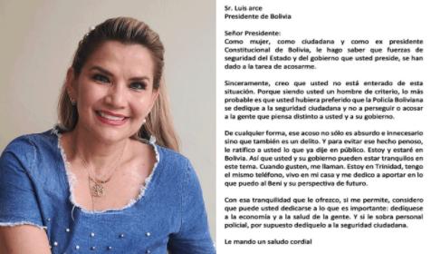 Áñez, en carta a Arce, denuncia acoso 'absurdo' de parte de fuerzas de seguridad