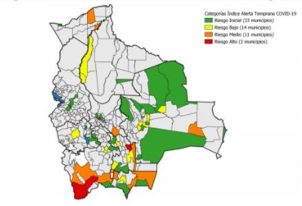 Sólo tres municipios aparecen en riesgo alto por contagio de Covid-19