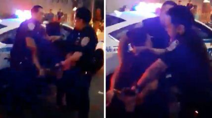 Un-joven-aplica-una-llave-sobre-la-cabeza-a-un-policia-que-intentaba-arrestarlo