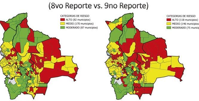 Bolivia reporta 118 municipios de riesgo alto 146 de riesgo medio y 75 de riesgo moderado