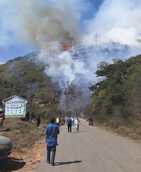 Bloqueadores provocaron incendio forestal en Samaipata
