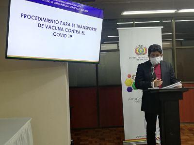 Bolivia prepara operativos para transporte y almacenaje de vacunas contra la covid-19