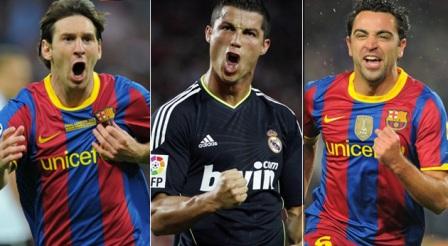 Messi,-Cristiano-Ronaldo-y-Xavi,-finalistas-del-Balon-de-Oro