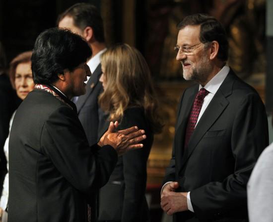 Tras-cumbre-de-Mercosur,-Morales-se-reune-con-Rajoy-y-bolivianos-en-Espana