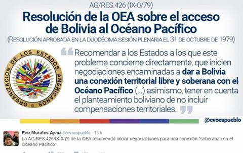 Bolivia-exhorta-a-Chile-a-que-cumpla-la-resolucion-426-de-la-OEA-sobre-el-tema-maritimo-