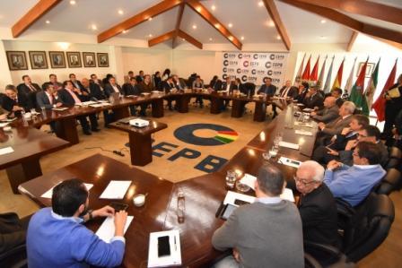 Ref. Fotografia: Los representantes de los empresarios de los nueve departamentos estuvieron presentes en la reunión con la ALP..