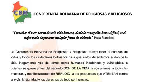 Conferencia-Boliviana-de-Religiosas-y-Religiosos-rechazan-ampliar-causales-para-el-aborto