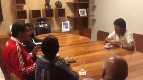 Antes-de-viajar-a-Nueva-York,-Evo-Morales-visito-a-Maduro-para-expresarle-su-apoyo