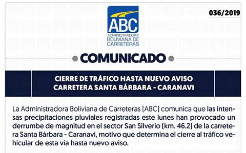 ABC-cierra-trafico-vehicular-en-ruta-Santa-Barbara-Caranavi-por-derrumbes-