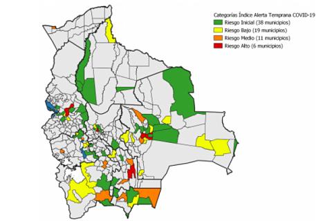 COVID-19:-Seis-municipios-estan-en-riesgo-alto,-incluidos-La-Paz,-Santa-Cruz-y-Cochabamba