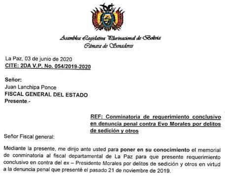 Conminan-a-Fiscal-General-a-emitir-conclusion-sobre-la-denuncia-contra-Evo-Morales-por-sedicion-y-otros-delitos