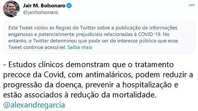 -Twitter-marca-una-publicacion-de-Bolsonaro-como--informacion-enganosa-y-potencialmente-danina-sobre-covid-19-