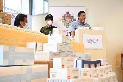 COVID-19:-Arce-entrega-medicamentos-para-pacientes-de-terapia-intensiva-del-Hospital-del-Norte-de-Cochabamba